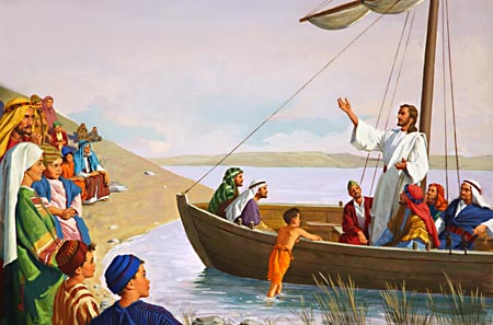 Jesus teaching from boat to crowd