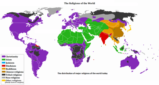 other religions (the major religions on a map)