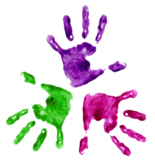 colourful childrens hands